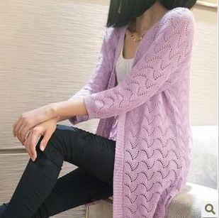 New arrive 2018 fashion spring summer Korean style women's sweaters hollow V-neck long sleeve air-condition cardigans 8111