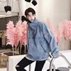 Oversize Men High Street Fashion Casual Letter Embroidery Washed Denim Jacket Male Zipper Pullover Loose Jean