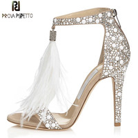 Prova Perfetto 2018 Fashion Sequined High Heels Shoes Woman Rhinestone Wedding Shoes Summer Peep Toe Feather High Heels Sandals