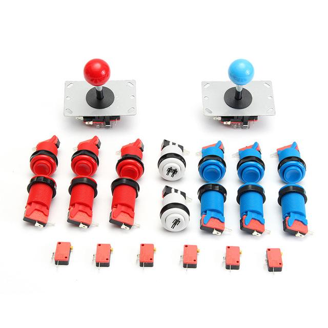 Jogo de Arcade DIY Kit Set Com 2x Joysticks + 12 Push Buttons + 2 Botão de Início Para MAME Para Jogo de Arcade DiY Conjunto de Pacotes
