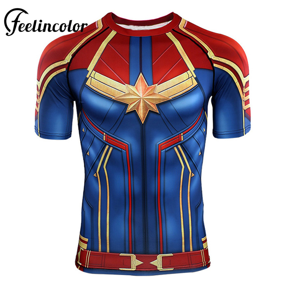Feelincolor Mens Unisex Captain Marvel Carol Danvers Cosplay Superhero 3D Printed Tee Short Sleeve Compression   T     shirt