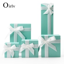 Oirlv Paper Jewelry Ribbon  Box Fresh Green Jewelry Gift Packaging Box 10pcs/Lot Earring Ring Necklace for Trad Showcase