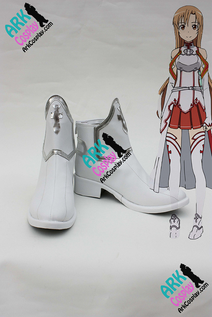 Espada arte Asuna Online Cosplay Shoes blanco para mujer SAO Asuna Cosplay Shoes