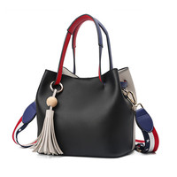 Golden Finger Brand Fashion Colorful Strap Bucket Bag Women High Quality Pu Leather Shoulder Bag Ladies