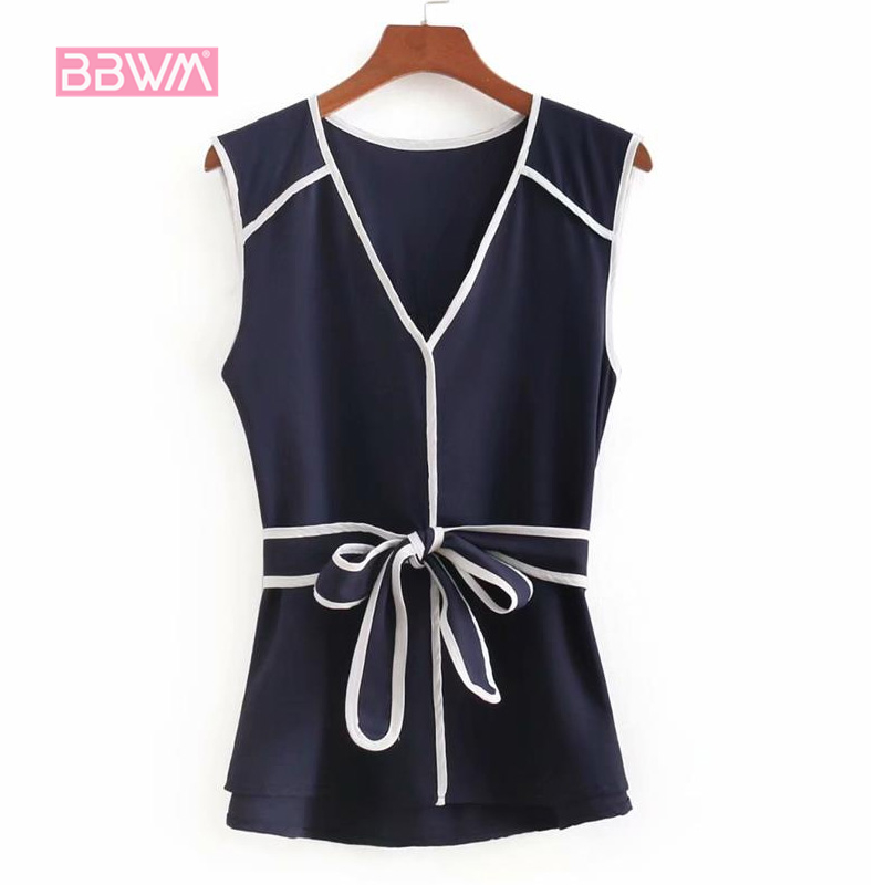 Womens Korean version of the small fragrance 2018 summer hit color edge tie was thin and sleeveless navy temperament shirt wome