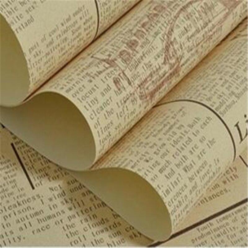 Wellyu américain rétro vieux journal PVC ingénierie papier peint nostalgique alphabet lettres bar café caractéristiques fond d'écran complet