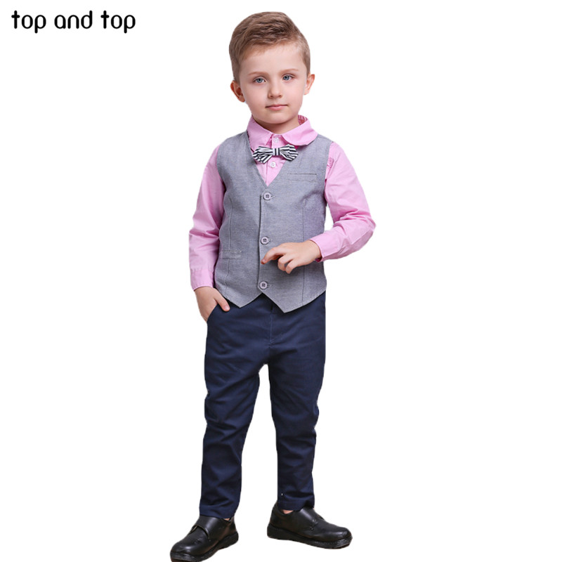 6f8ae369a 2019 Top And Top Children Boys Clothing Sets Vest +Shirt+Pants  Set ...