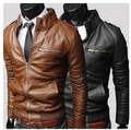 Man Leather Jacket Windproof 3 Colors Motorcycle Slim Fit Retro Spring Men's PU Leather Jackets Casual Coat 2016 Top Quality