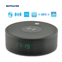 Hands free Stereo wireless Bluetooth Speaker Clock FM bass speaker bluetooth NFC TF AUX line in speaker with WIRELESS CHARGER