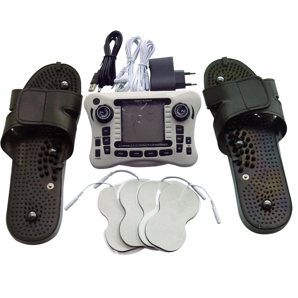 Dual Electronic Pulse Smoothing Massage Therapy Device Physiotherapy Instrument With Plastic Massage Slippers Conductive Gloves цена