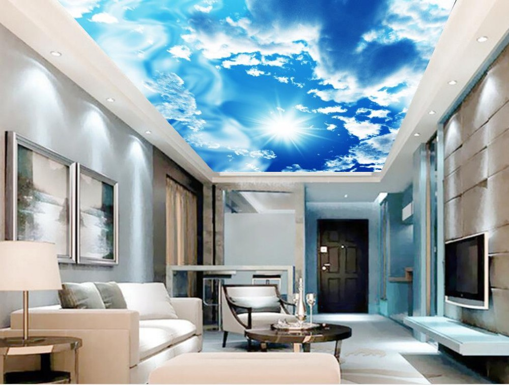 Custom 3d mural wallpaper European style Home Decoration Blue sky and white clouds dove ceiling 3d mural wallpaper in Wallpapers from Home Improvement