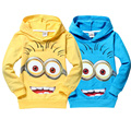 High quality  despicable me 2 minion boys t shirt  kids minions clothes children child spring  autumn hoodies Tops & Tees