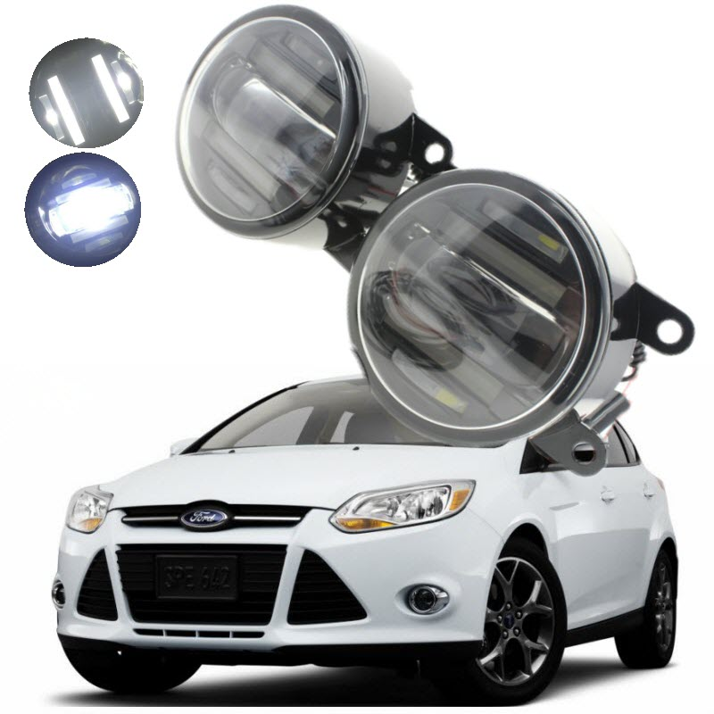 For Ford Focus 2 3 2004-2014 2 in 1 18W LED Fog Lights White Cut-Line Lens DRL Daytime Running Lights Car-Styling boomboost 2 pcs car led for ford new focus 2012 2014 daytiime running lights car styling