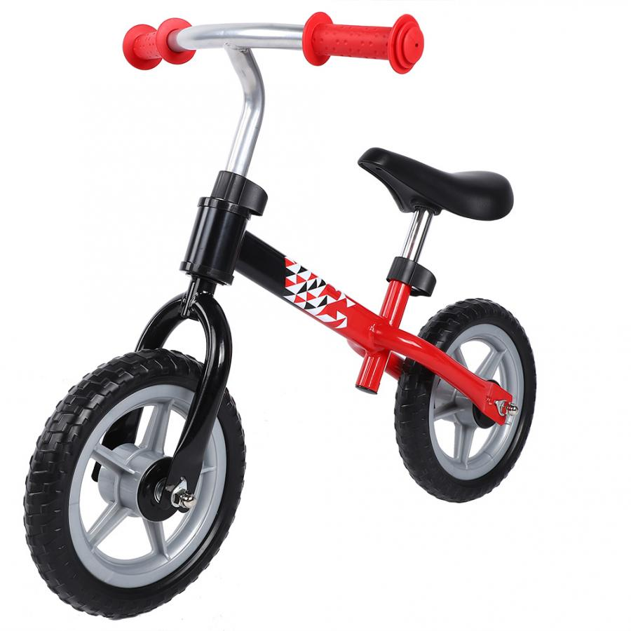 Children Bike Non-slip Wheel No Pedal Kids Walker Adjustable Seat Black-Red Baby Bicycle
