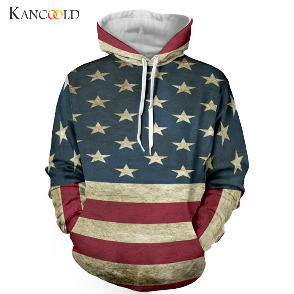 Men Outerwear Coats Vintage Stars and Stripes Print Clothing Boy 3D Printed American Flag Coat Hip Hop Pocket Pullover Apr16