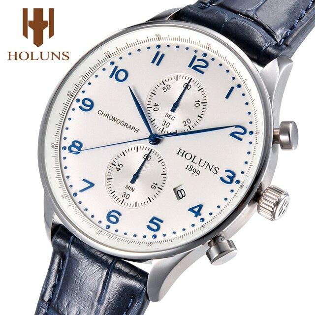 Holuns גברים מזדמן שעון 2019 פורטוגזית זכר שעון קוורץ הכרונוגרף עור עמיד למים עסקי שעוני יד המכר
