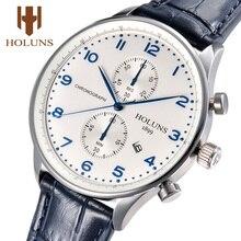Holuns montre décontractée pour homme 2019 portugais mâle horloge Quartz chronographe en cuir étanche montres daffaires best seller