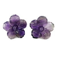 2015 New Arrival Classic Natural Amethyst Flower 925 Sterling Silver Stud Earring Size About 18mm Free