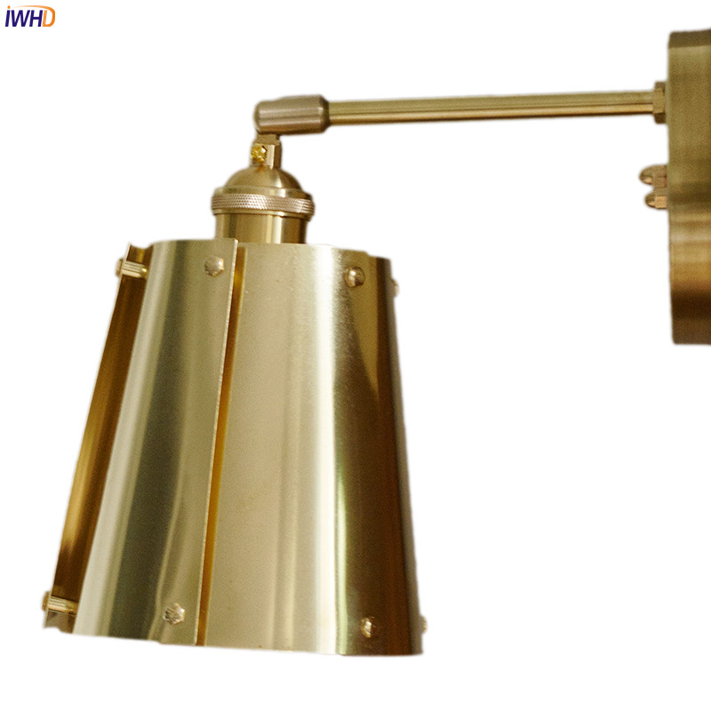 IWHD Brass Copper LED Wall Lamp Beside Bathroom Mirror ...