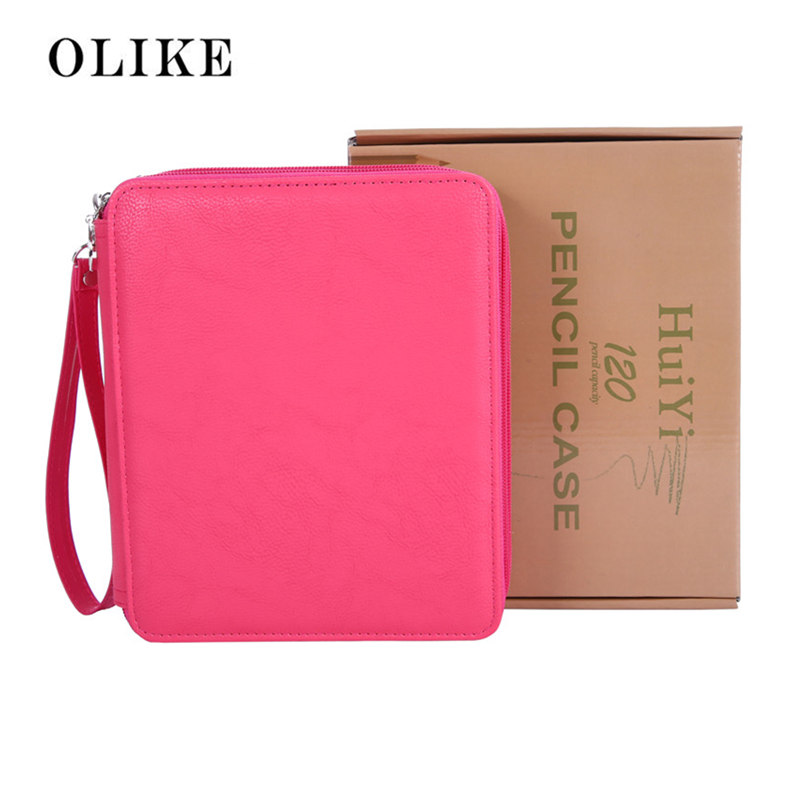 OLIKE Deluxe PU Leather Pencil Case For Colored Pencils 120 Slot Pencil Holder Storage for Art Students  Gift Box Pakage mymei fashion thin cigarette case box metal 20 sticks cigar cigarette tobacco holder storage case pocket box gift for lady women