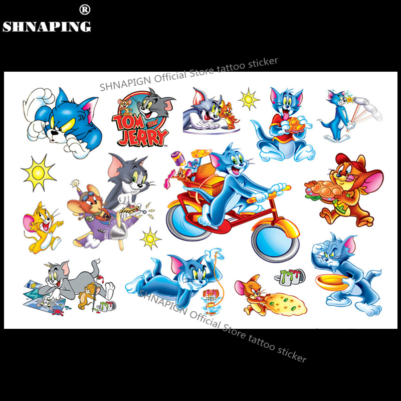 SHNAPIGN Tom Cat and Jerry Mouse Niño Tatuaje temporal Body Art Flash Tattoo Stickers 17 * 10cm Etiqueta de diseño de henna impermeable