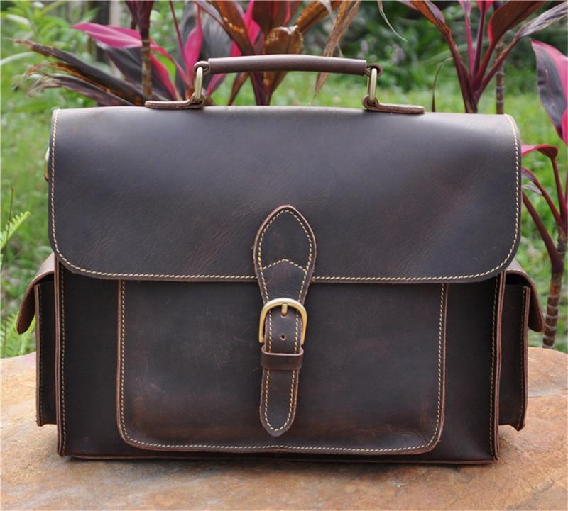 Men's Briefcase Genuine Leather Male Laptop Shoulder Crossbody Bag Tote Handbag Crazy Horse Multi Pocket 13 Inch Business Bags