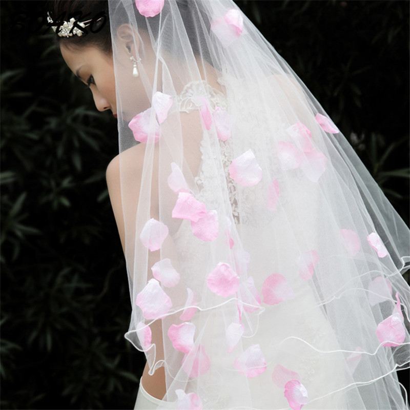Bride Veils White Applique Tulle 3 Meters veu de noiva Long Wedding Bridal Accessories Married Romantic Sweet Flower