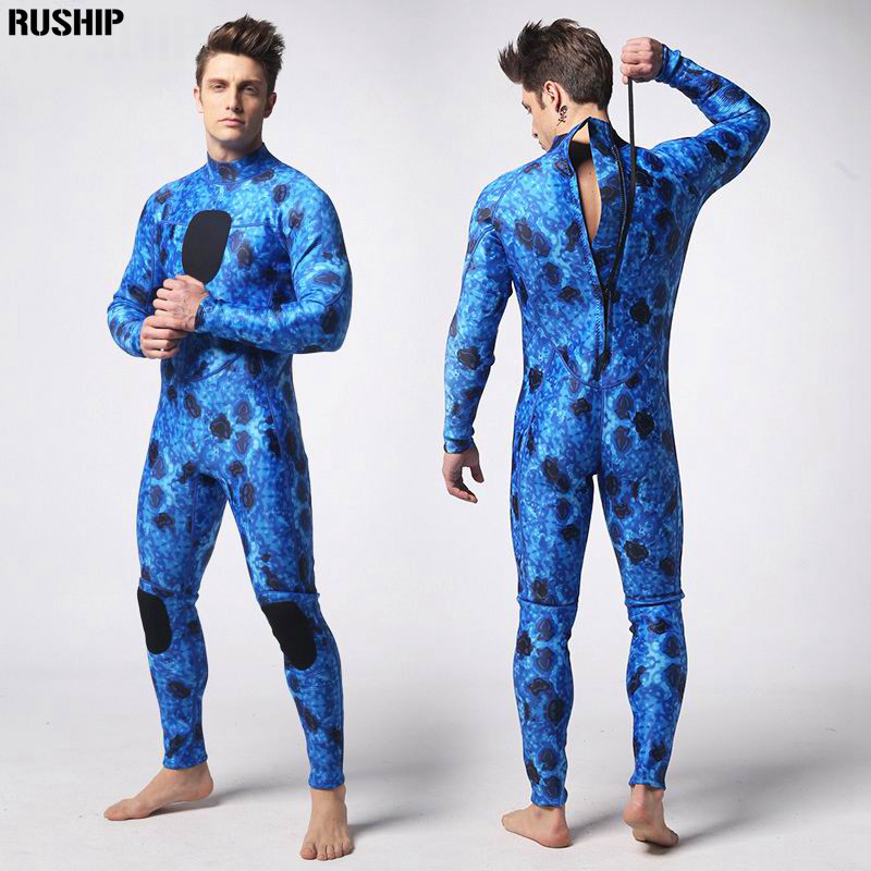 3mm Professional diving suit camo blue wetsuit neoprene inside nylon outside super stretch lycra chest both knee with fabric pad