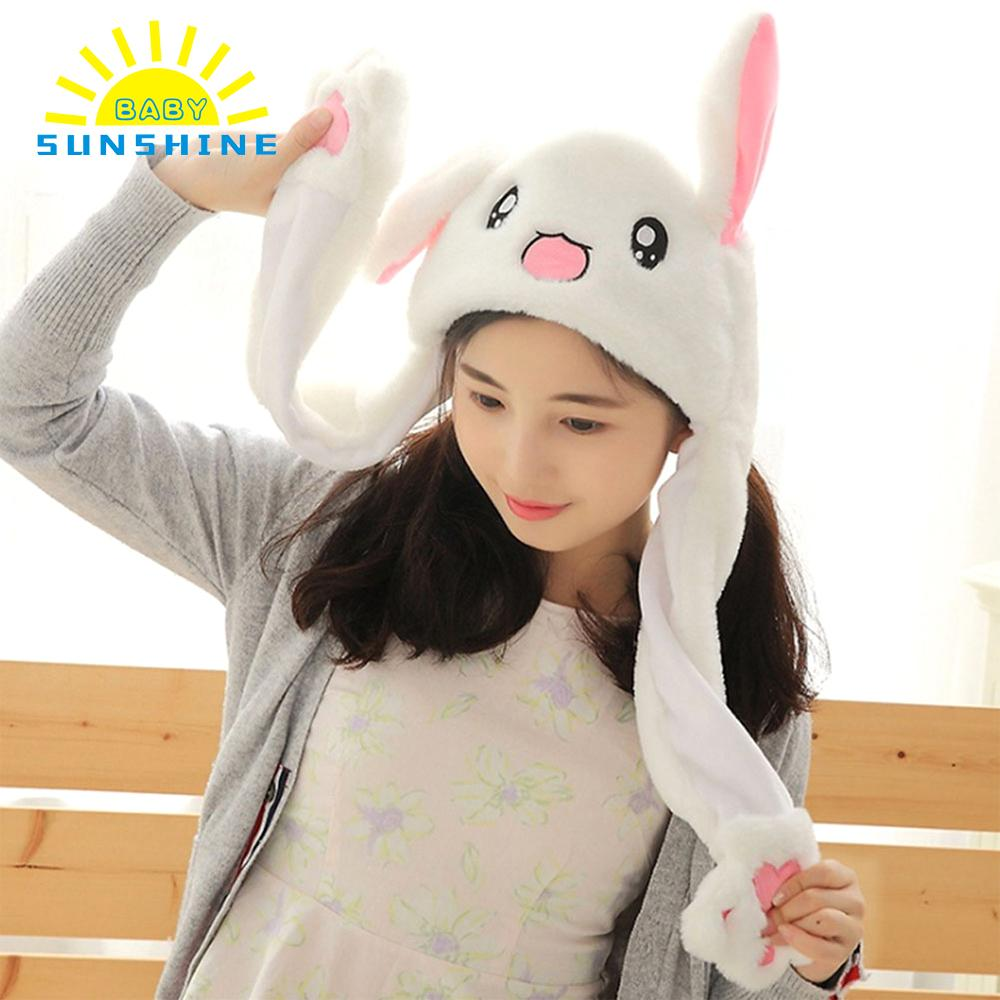NEW Kawaii Funny Rabbit Hat Moving Bunny Ears Soft Plush Cap Birthday gifts Toys for Girls Girlfriend