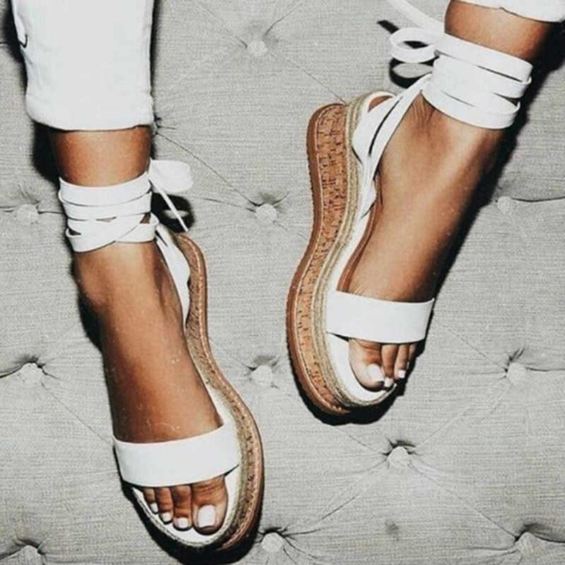 קיץ לבן טריז נעלי נשים סנדלי גלדיאטור בוהן פתוח מזדמן תחרה עד נשים פלטפורמת סנדלי חוף נעליים