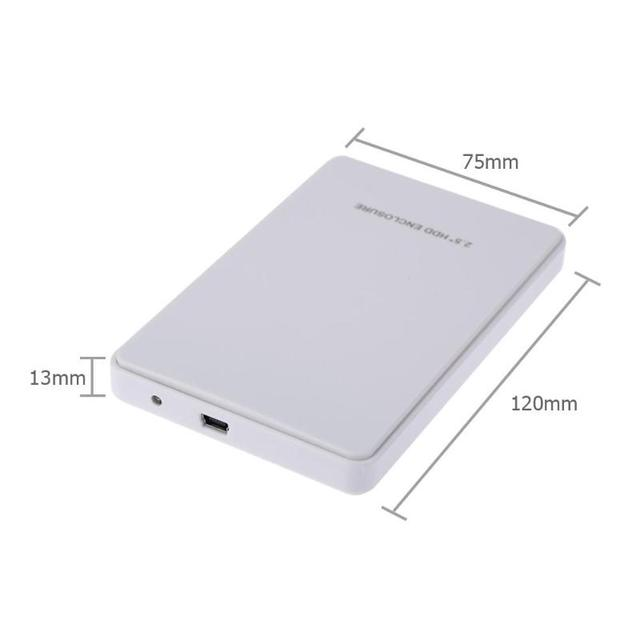 2.5in IDE Hard Disk Drive Enclosure USB 2.0 External HDD Case Box White for Win7/Win8/Win10 and for Mac OS 5
