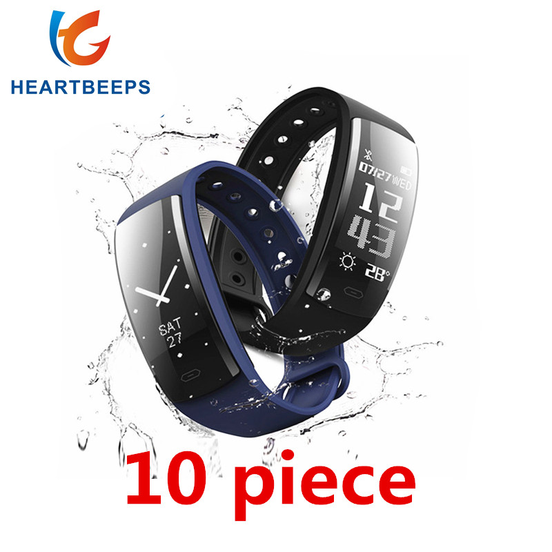 10pcs QS90 Smart Wirstband Blood Pressure Monitor Heart Rate Fitness Tracker Smart Bracelet IP67 Waterproof Pedometer Smart band