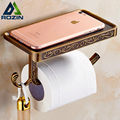 High-end Wall Mount Roll Paper Tissure Holder Brass Bathroom Toilet Paper Rack Mobile Phone Rack