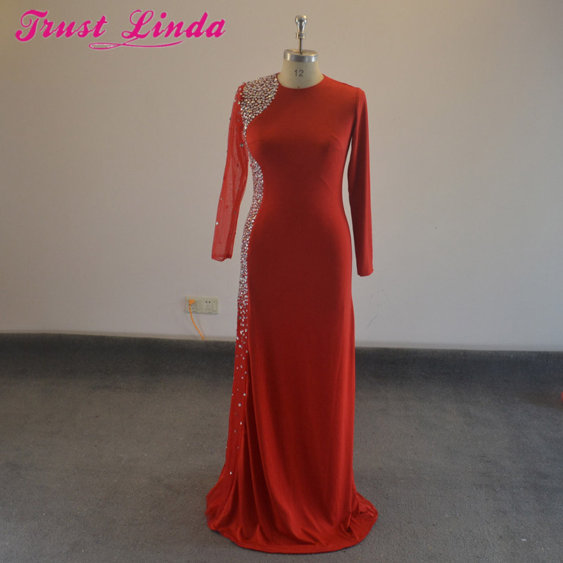Real Picture Purple Green Blue Red Beading Crystal Sheath Long Sleeves Evening Gowns 2018 Prom Dresses Mother Dress Plus Size