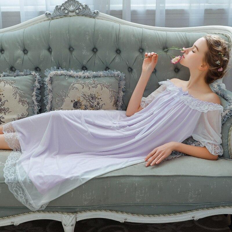 Summer   Nightgowns     Sleepshirts   Sleepwear Women Stretchy Round Neck Slash Night Wear Princess Long Dress Plus Size Homewear