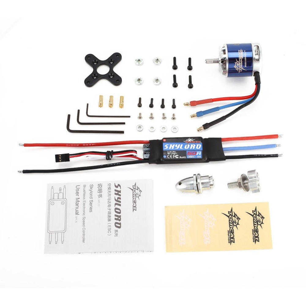 TomCat TC-G 3520 ESC KV980 7T Brushless Motor Skyload 50A Brushless Combo Set for RC Fixed Wing Airplane Drone Helicopter ht hobbywing platinum 50a v3 high performance brushless esc for rc helicopter fixed wing multi rotor