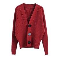 Ladies Mùa Thu Mô Hình Mới Khôi Phục Cách Cổ Áo Len Màu Đỏ Cardigan Joker Trường Gió Dễ Dàng Đan Loose Coat