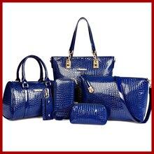 Nuevos 2015 calientes de la venta mujeres de moda cocodrilo bolsos de embrague mujeres Bolsas Messenger Bags charol alta calidad 6 unidades un conjunto