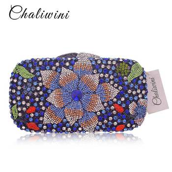 Color Luxury Crystal Day clutches handcraft rhinestone evening bag soiree sac pochette femme women party purse Clutch Bag