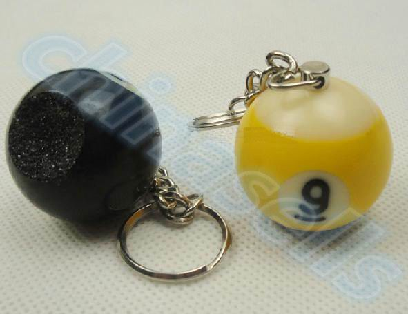 2pcs Snooker Billiard Ball Key Chain Pool Cues Tip Shaper