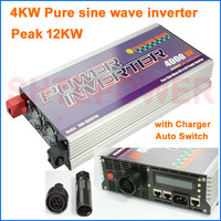 Dc 24v input 4000w pure sine wave inverter lcd display with Charger and Auto Switch