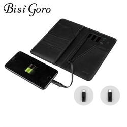 BISI GORO 2019 Unisex inteligente de la carpeta del teléfono USB para carga cartera pasaporte paquete adaptar para iPhone y Android y capacidad de 10000 mAh