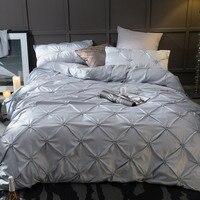 Queen King size Luxury Bedding Set Gray Beige Purple Blue Cottton Bed sheet set Pleated Duvet Cover juego de cama linge de lit