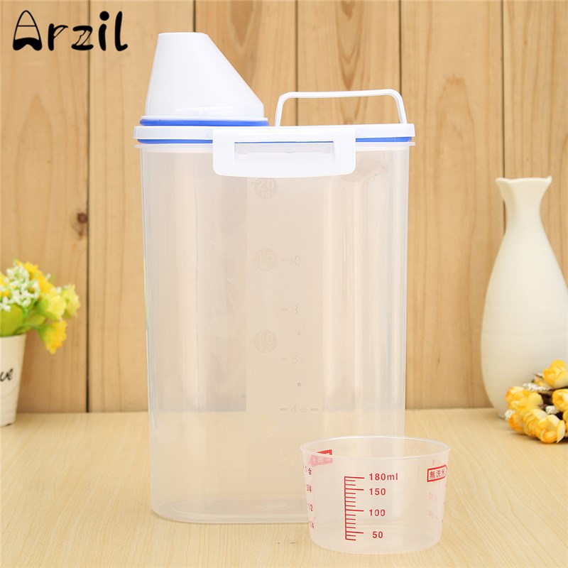 Plastic Cereal Storage Container Box Jar Large Kitchen Food Grain Bean Rice Holdersealed Box With Pour