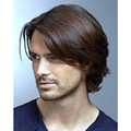 1PCS Stylish Mens Short Handsome Wavy Cosplay Party Hair Full Wig Platinum Brown Wig Men Cosplay Wig