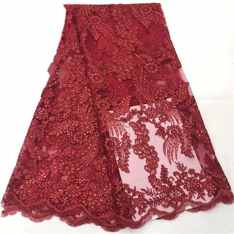 2019 Cavo Africano Del Merletto di Alta Qualità Tessuto di Pizzo Francese Con Pietre di Colore Rosso Tessuto Africano Del Merletto Per La Cerimonia Nuziale Nigeriano Vestito rosa