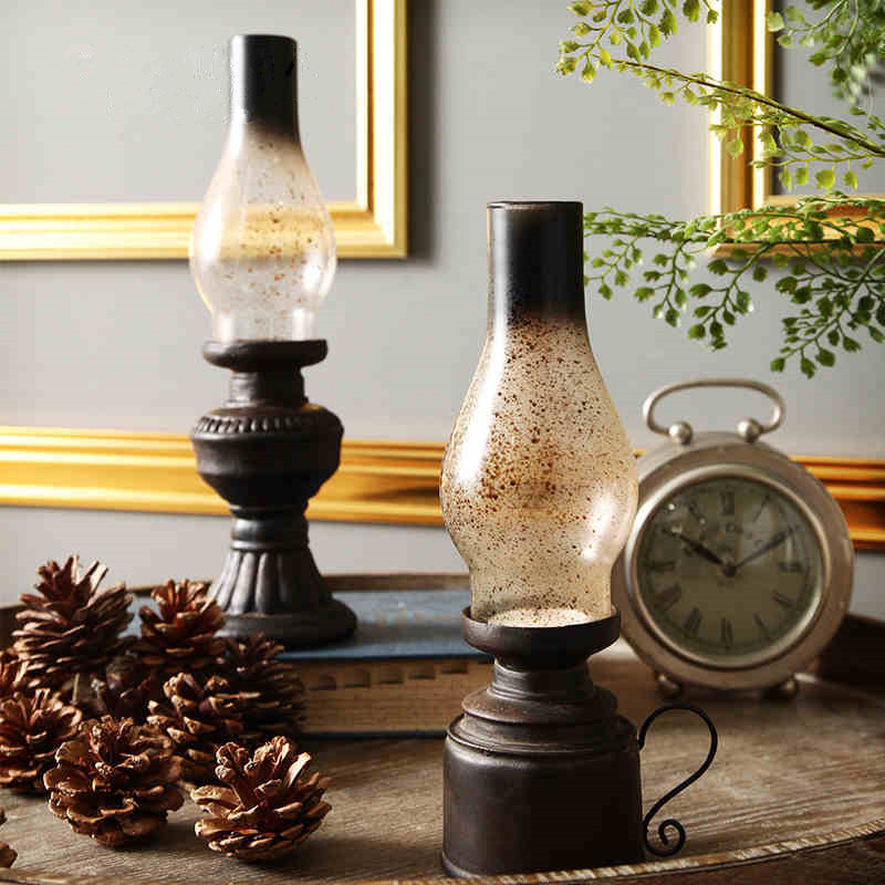 Vintange retro resin kerosene lamps candle holders 1pc for Creative candle holders
