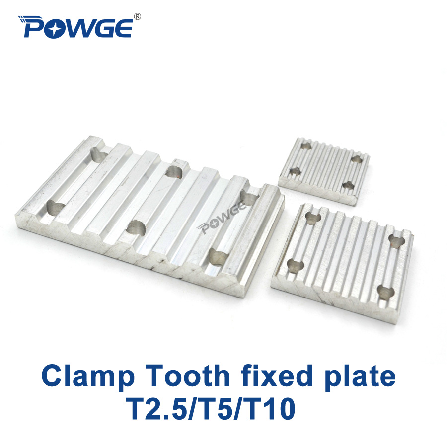 POWGE Aluminum Trapezoid teeth Clamp Tooth plate T2.5 T5 T10 for open synchronous belt Fixed timing Belt connection Gusset platePOWGE Aluminum Trapezoid teeth Clamp Tooth plate T2.5 T5 T10 for open synchronous belt Fixed timing Belt connection Gusset plate
