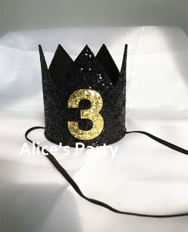 Hot Black Gold Medium Crown Hat Boy First 1st 2nd 3rd Birthday Party Mini HatsShining Decorations Cake Smash Photo Props In Hats From Home