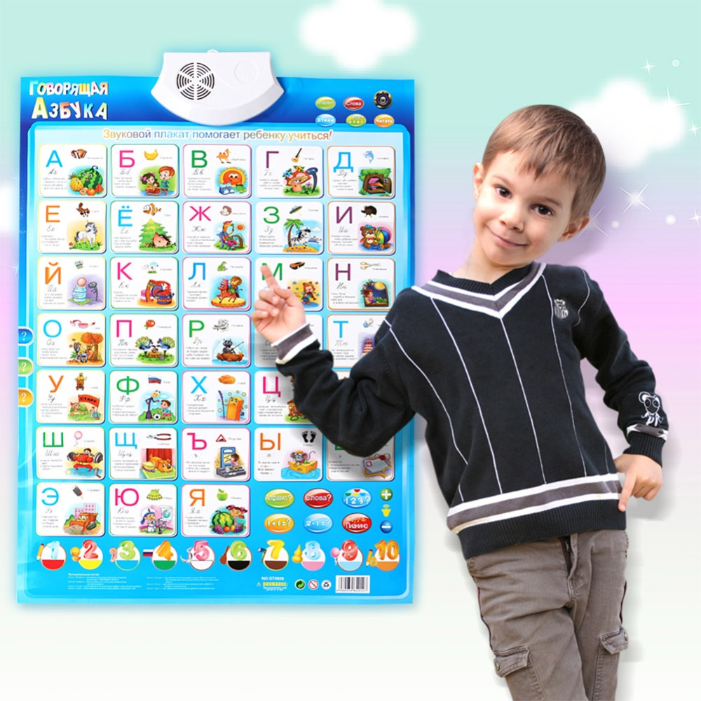 Kids Russian Language Sound Alphabet Learning Machine Sound Wall Chart Hanging Chart Music Blanket  Educational Toys Gifts